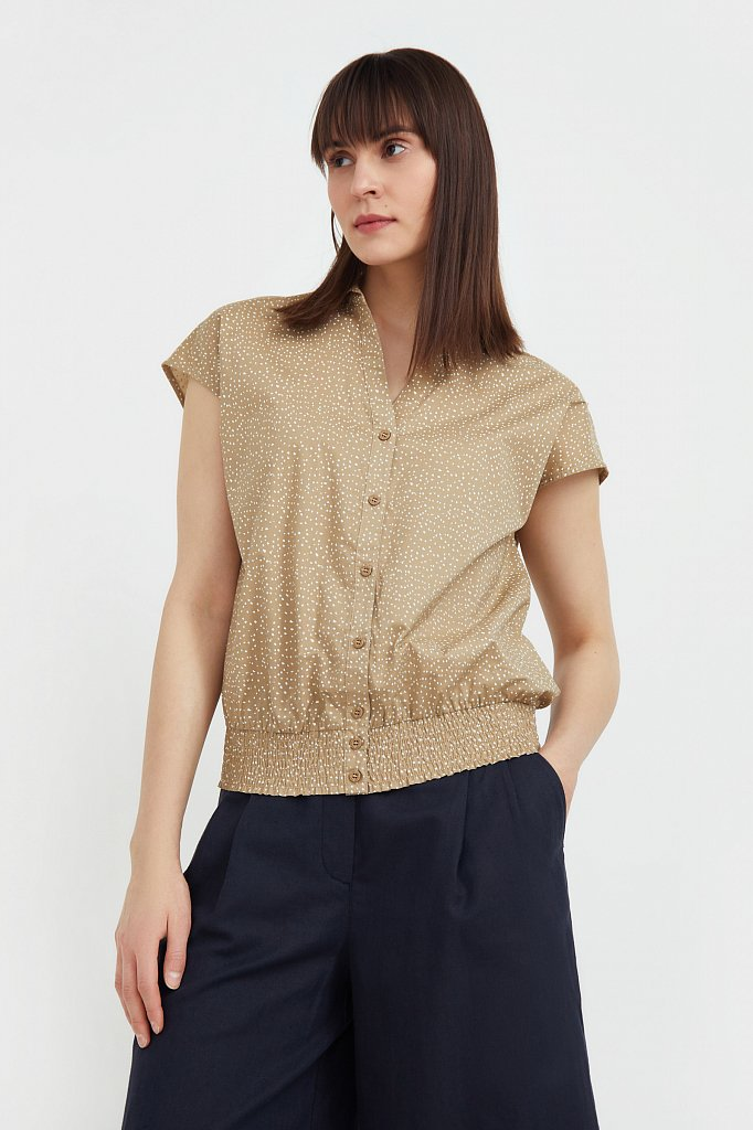 Хлопковая блузка с пестрым принтом, Модель S21-12042, Фото №2