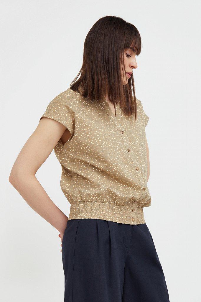 Хлопковая блузка с пестрым принтом, Модель S21-12042, Фото №3