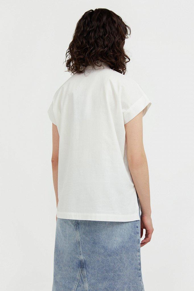 Хлопковая рубашка с короткими рукавами, Модель S21-11005, Фото №4