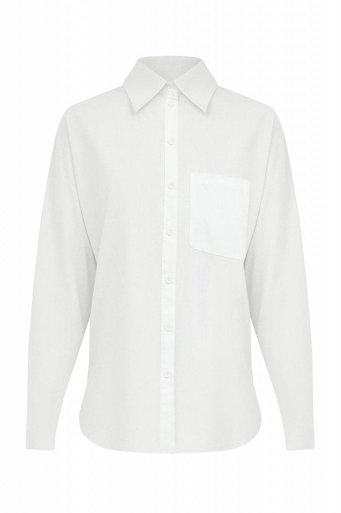 Однотонная рубашка из хлопка, Модель S21-11006, Фото №7
