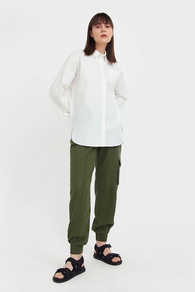 Однотонная рубашка из хлопка, Модель S21-11006, Фото №2