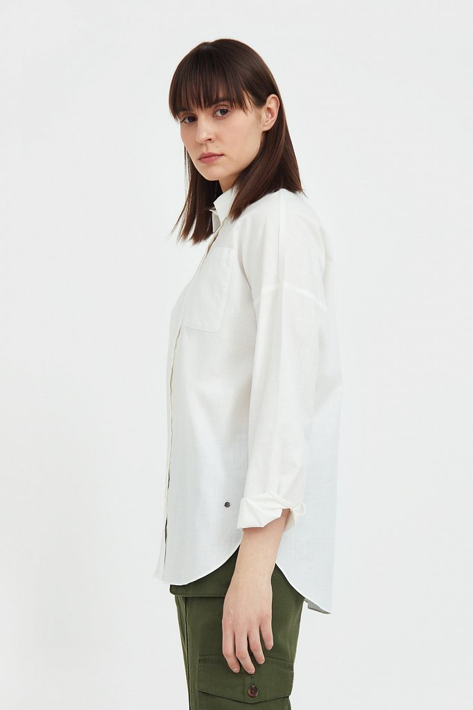 Однотонная рубашка из хлопка, Модель S21-11006, Фото №3