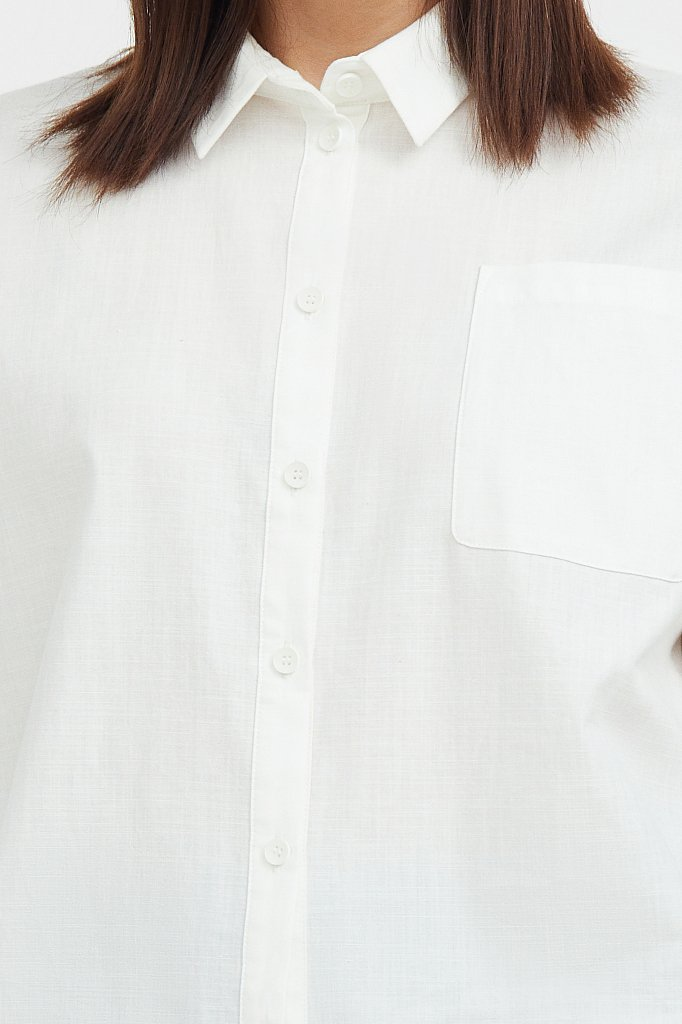 Однотонная рубашка из хлопка, Модель S21-11006, Фото №5