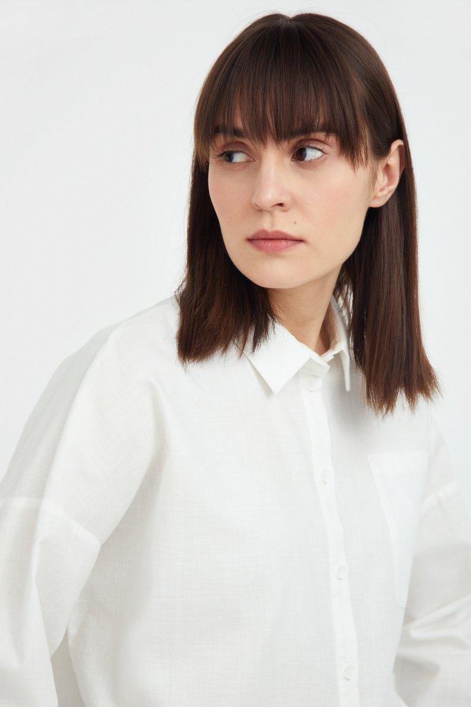 Однотонная рубашка из хлопка, Модель S21-11006, Фото №6