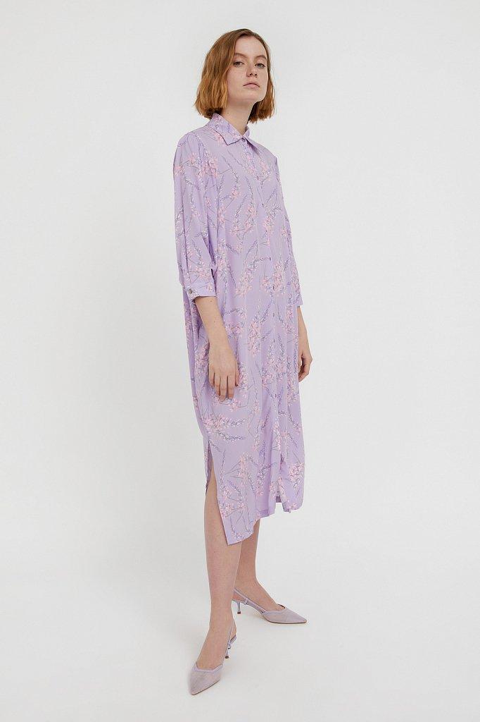 Платье-рубашка с растительным принтом, Модель S21-11066, Фото №1