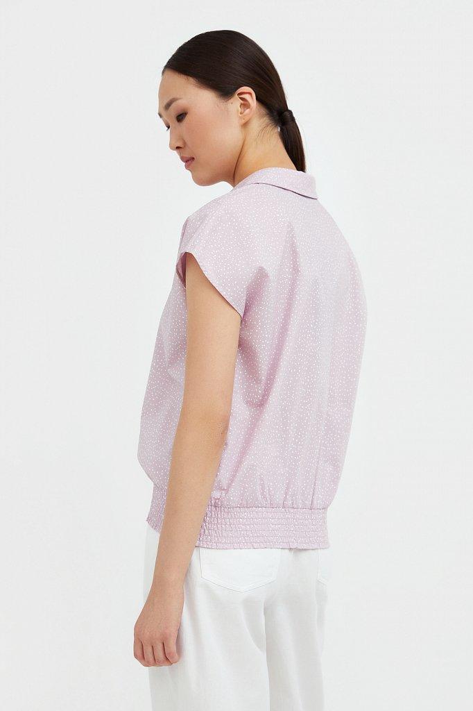 Хлопковая блузка с пестрым принтом, Модель S21-12042, Фото №4