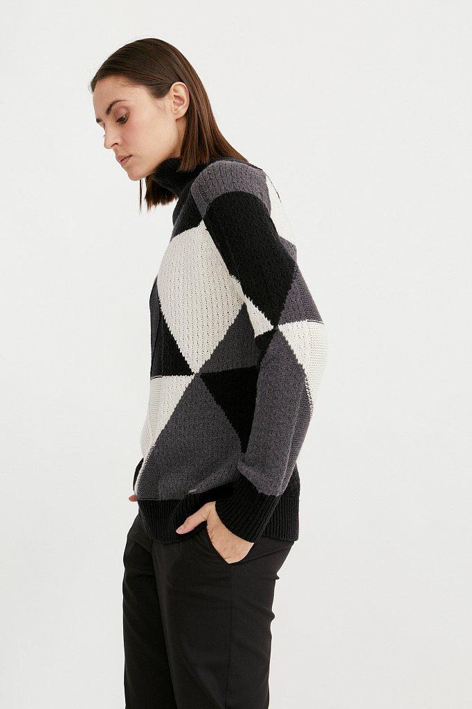 Трикотажный женский свитер прямого кроя с шерстью, Модель W20-32113, Фото №3