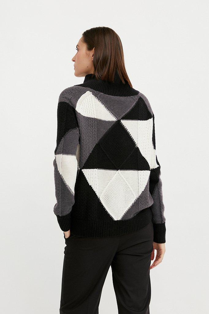 Трикотажный женский свитер прямого кроя с шерстью, Модель W20-32113, Фото №4