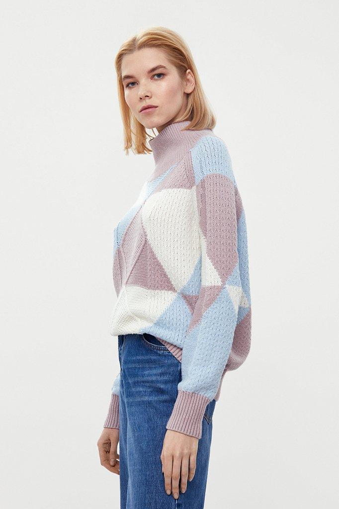 Трикотажный женский свитер прямого кроя с шерстью, Модель W20-32113, Фото №1