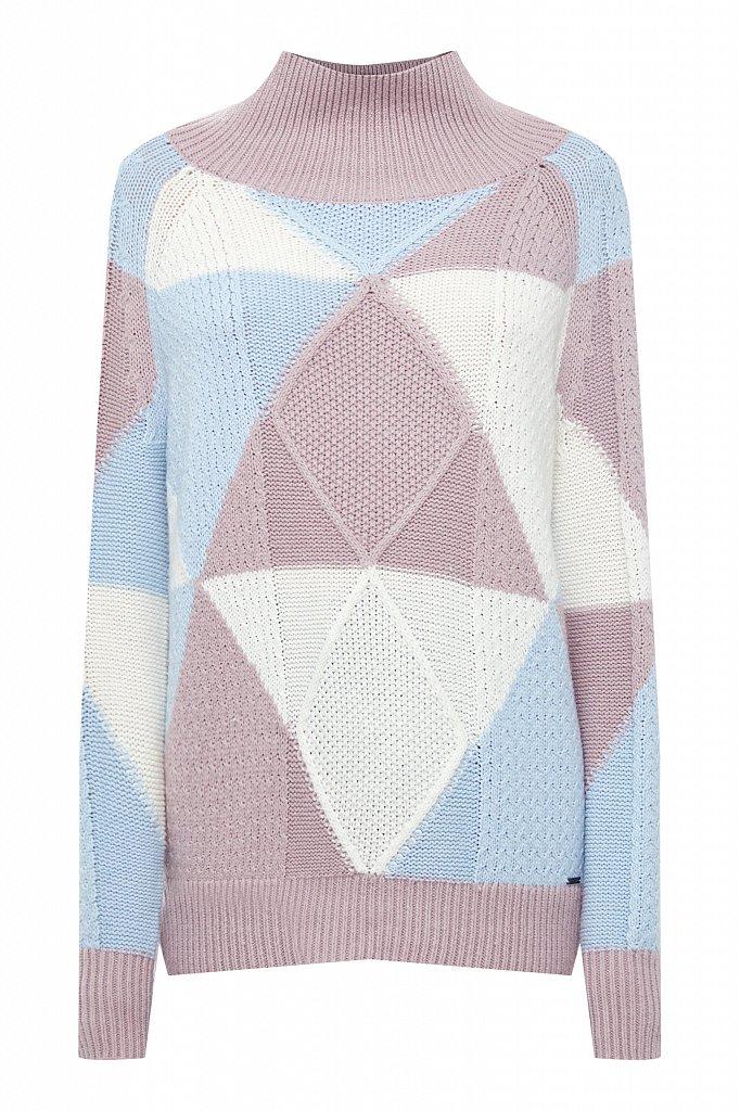 Трикотажный женский свитер прямого кроя с шерстью, Модель W20-32113, Фото №7