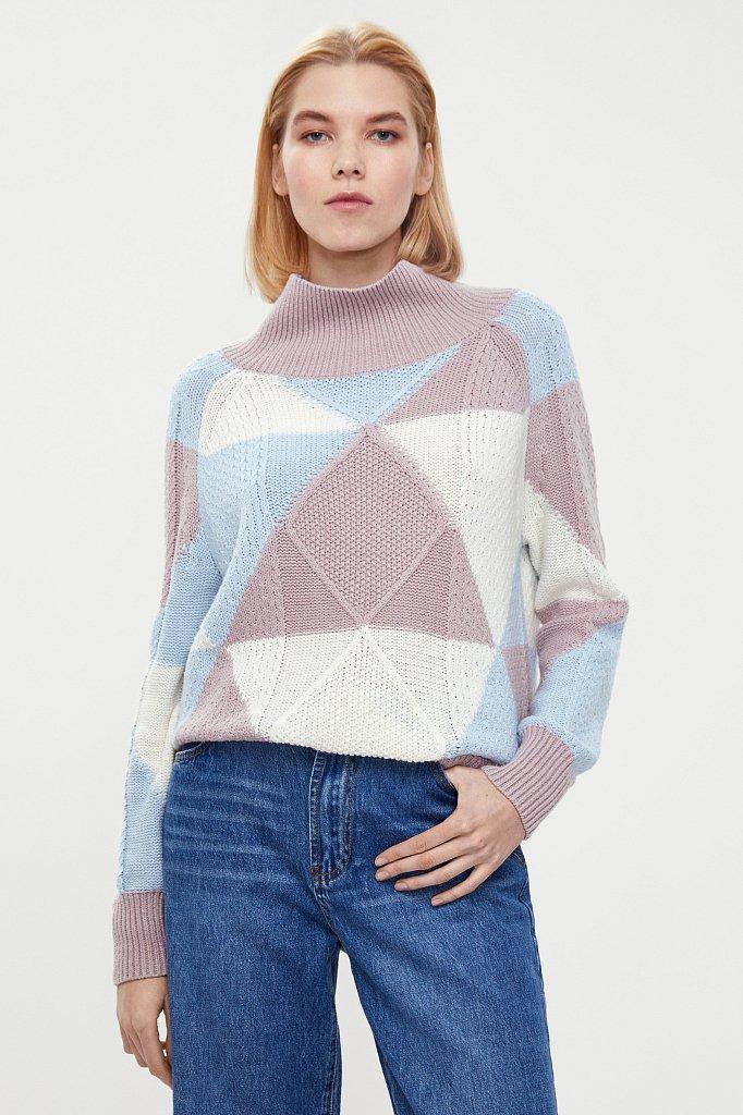 Трикотажный женский свитер прямого кроя с шерстью, Модель W20-32113, Фото №2