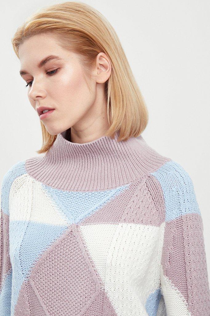 Трикотажный женский свитер прямого кроя с шерстью, Модель W20-32113, Фото №5